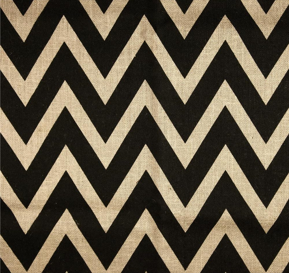 "Oyster Black 60"" Chevron Burlap - By The Yard"