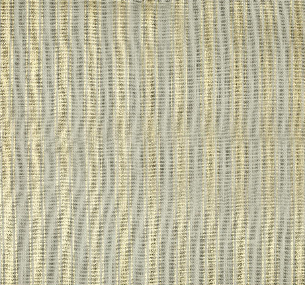 "60"" Metallic Foil Stripe Burlap Oyster/Gold By The Yard"