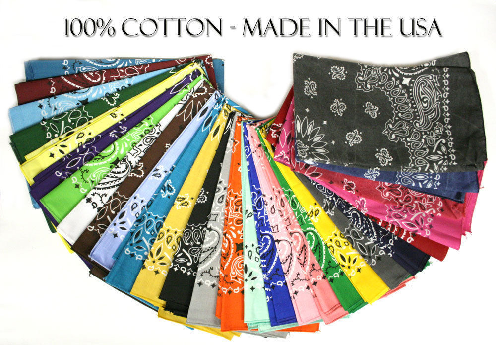 "Paisley Bandanas - Made in USA 22"" x 22""-12 Pack"