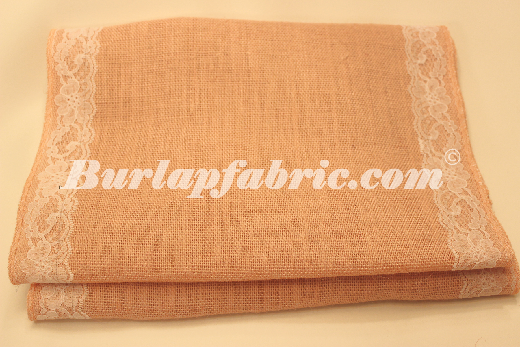 "14"" Peach Burlap Runner with 2"" White Lace Borders"