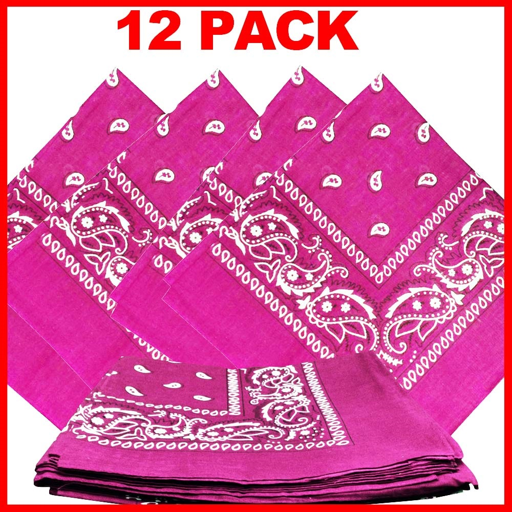 "Pink Paisely Bandanas (12 Pack) 22"" x 22"" 100% Cotton"