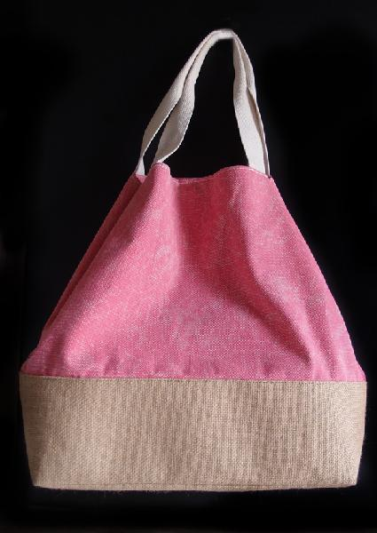 "Washed Canvas Pink Tote Bag With Burlap - 14""W x 16""H x 5 ½""D"