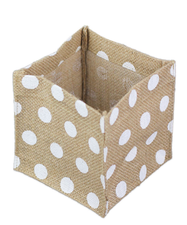 "Square Burlap Vase Holder White Polka Dots 6"" x 6"" x6"" (12 Pk)"