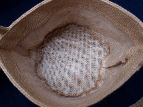 "Burlap Flower Girl Basket - 4 1/2"" Dia x 4 1/2"" H"