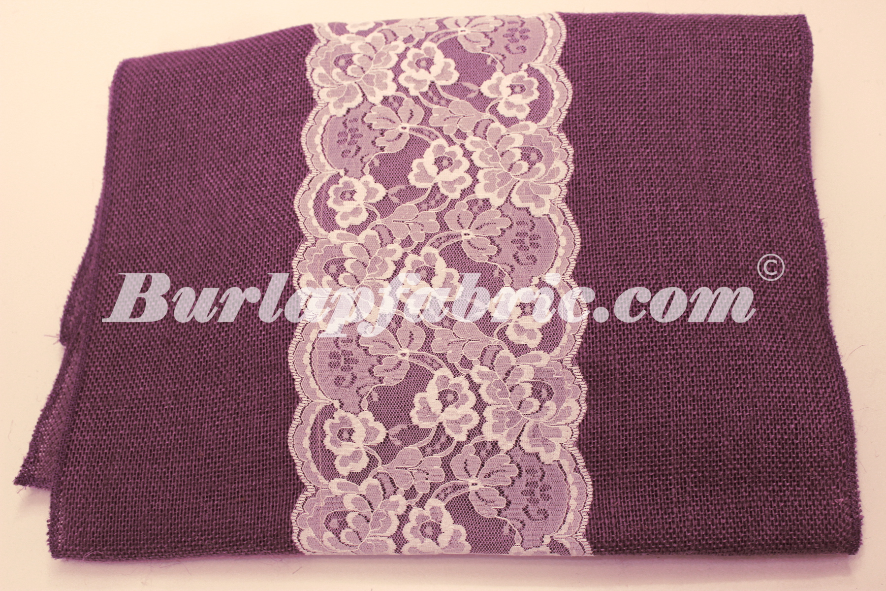 "14"" Purple Burlap Runner with 6"" White Lace"