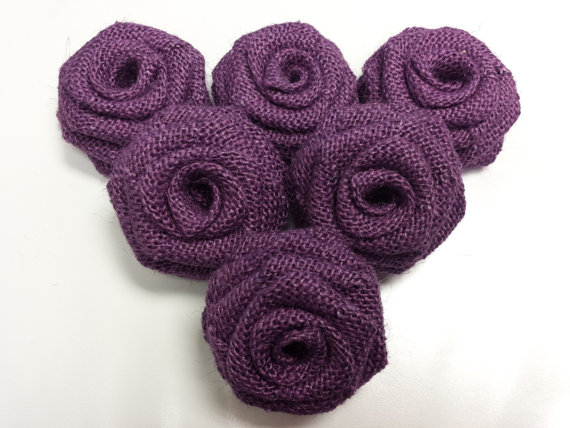 Purple Burlap Flowers (by the Dozen)