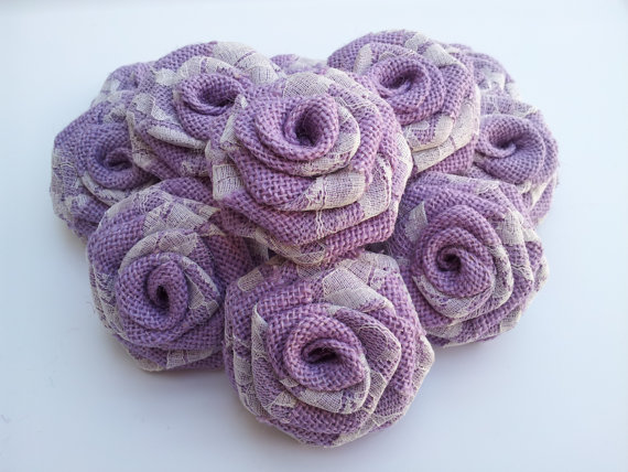 Purple Burlap Flowers with Lace (12 Pack)