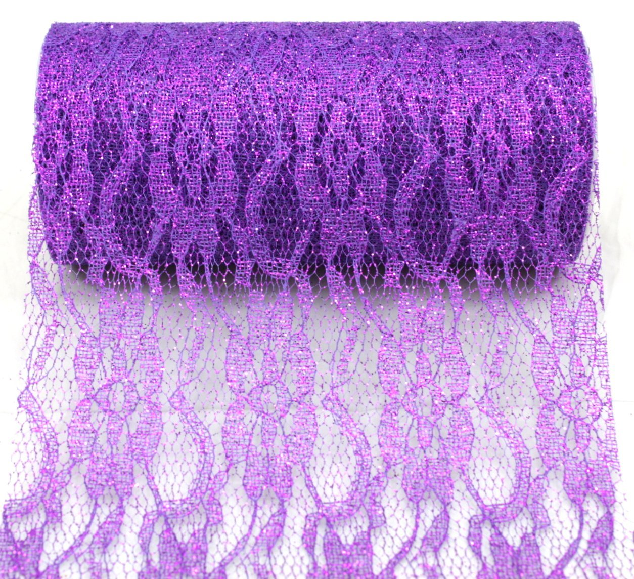 "Purple Sparkle Lace Ribbon - 6"" x 10 Yards"