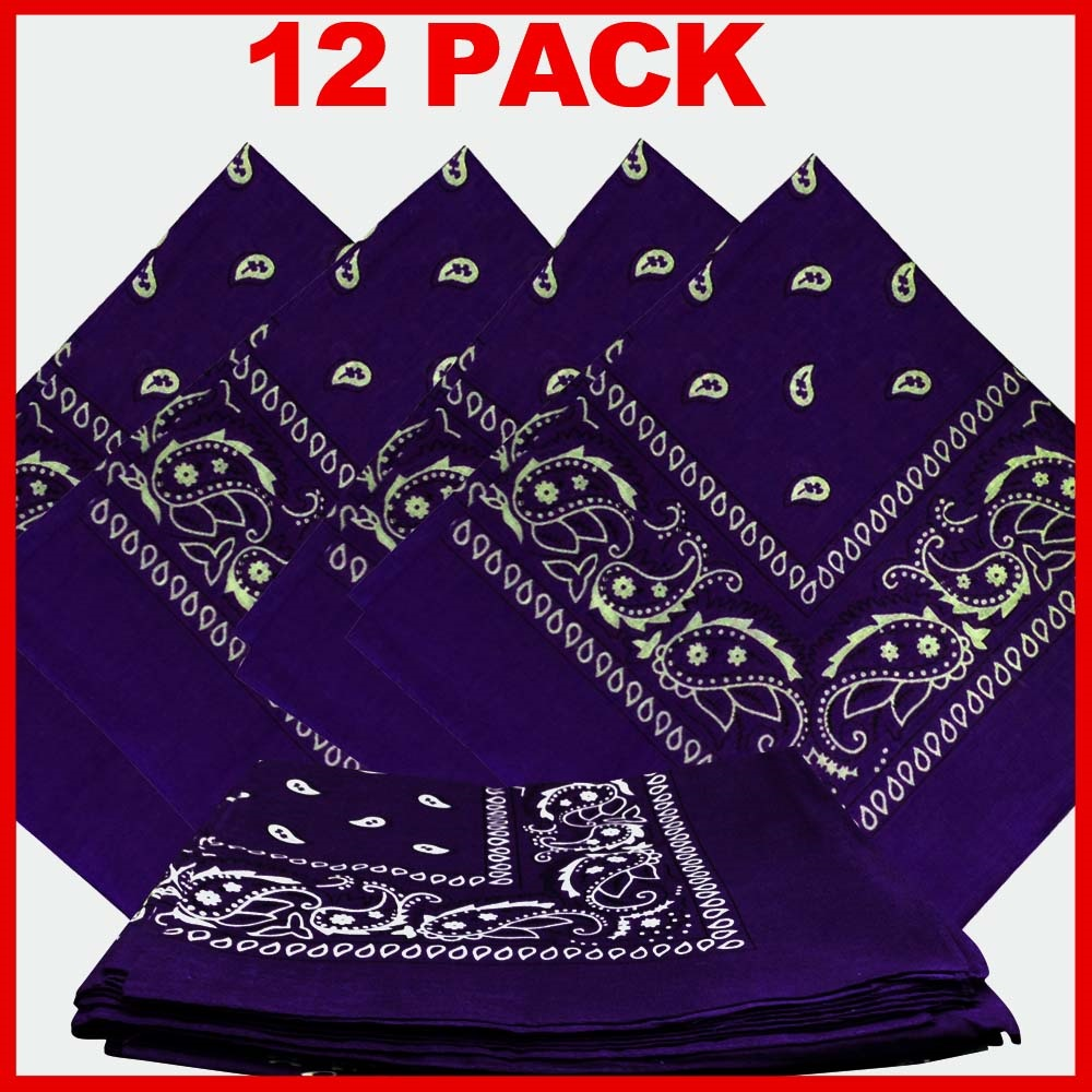 "Purple Paisley Bandanas (12 Pack) 22"" x 22"" 100% Cotton"