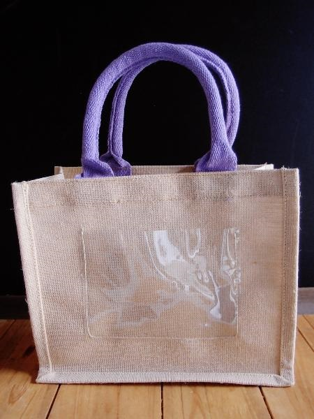 "Mini Purple Jute Blend Tote Bag W/Window 10"" x 8"" x 5"""