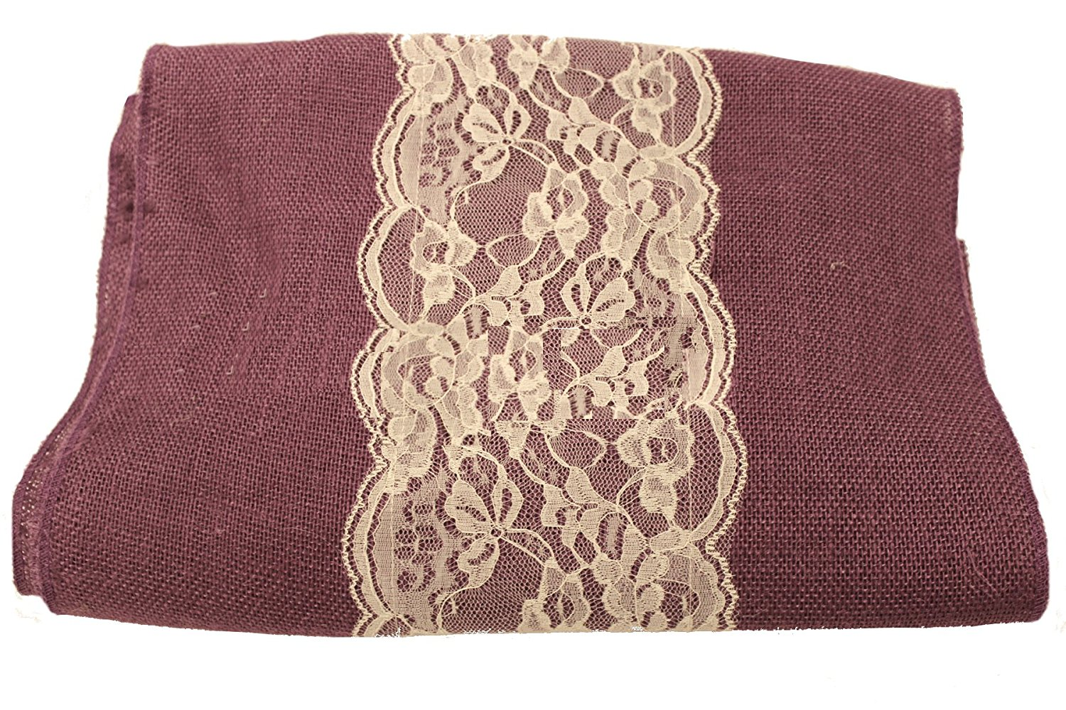 "14"" Purple Burlap Runner with 6"" Ivory Lace"