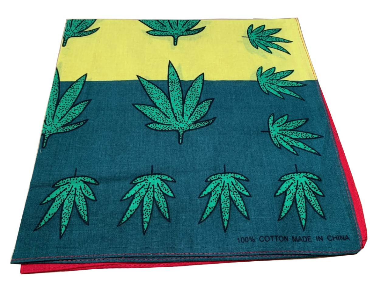 "Marijuana Bandana Red/Yellow 22"" x 22"" - 100% Cotton"