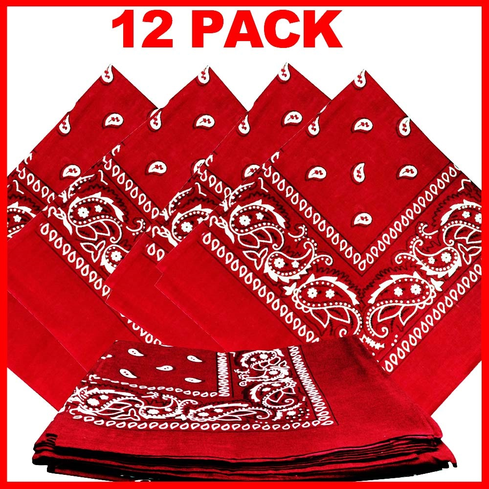 "Red Paisley Bandanas (12 Pack) 22"" x 22"" 100% Cotton"