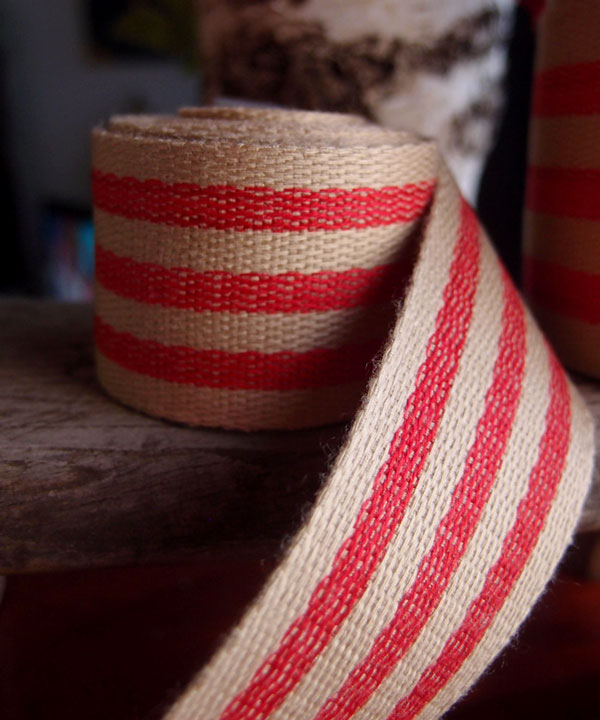 "Red Stripe Faux Burlap Ribbon 1.5"" x 10 Yards"