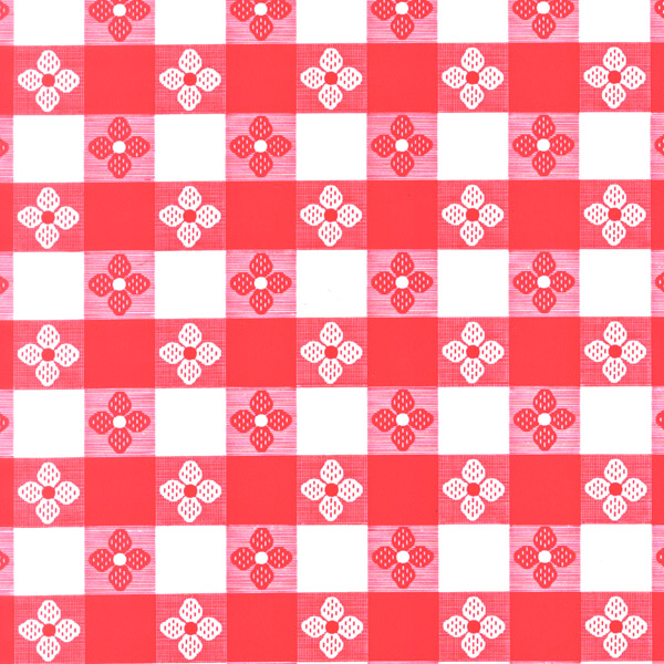 "Red Tavern Check OilCloth - 54"", 40 Yards (no felt back)"