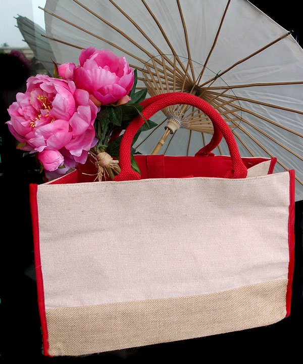 "Jute Tote Bag Red Cotton and Jute Accents 17.5""Wx11.5""Hx8.5""D"
