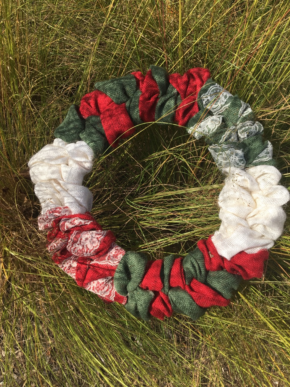 Red White & Green Burlap Wreath With Ivory Lace