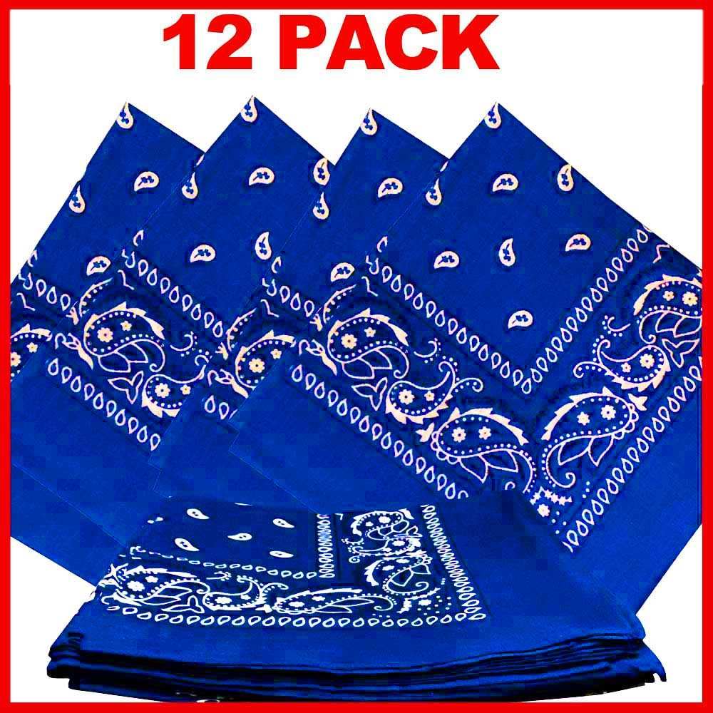"Blue Paisley Bandanas (12 Pack) 22"" x 22"" 100% Cotton"
