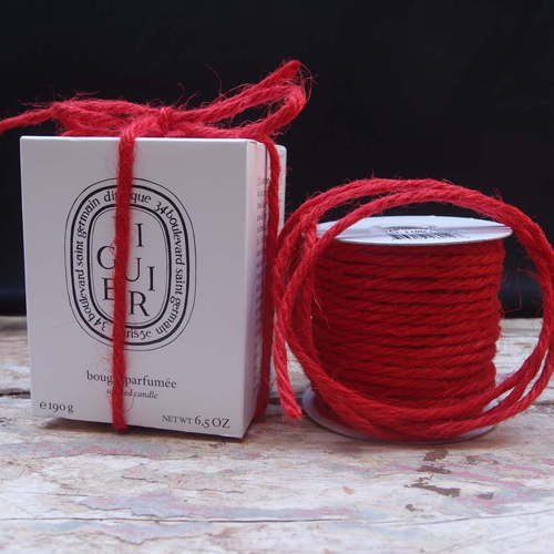 3.5 mm Red Jute Cord - 25 Yards