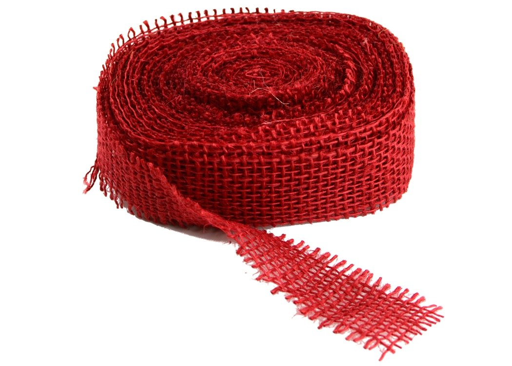 "1.5"" Red Burlap Ribbon - 10 Yards (Frayed Edges)"