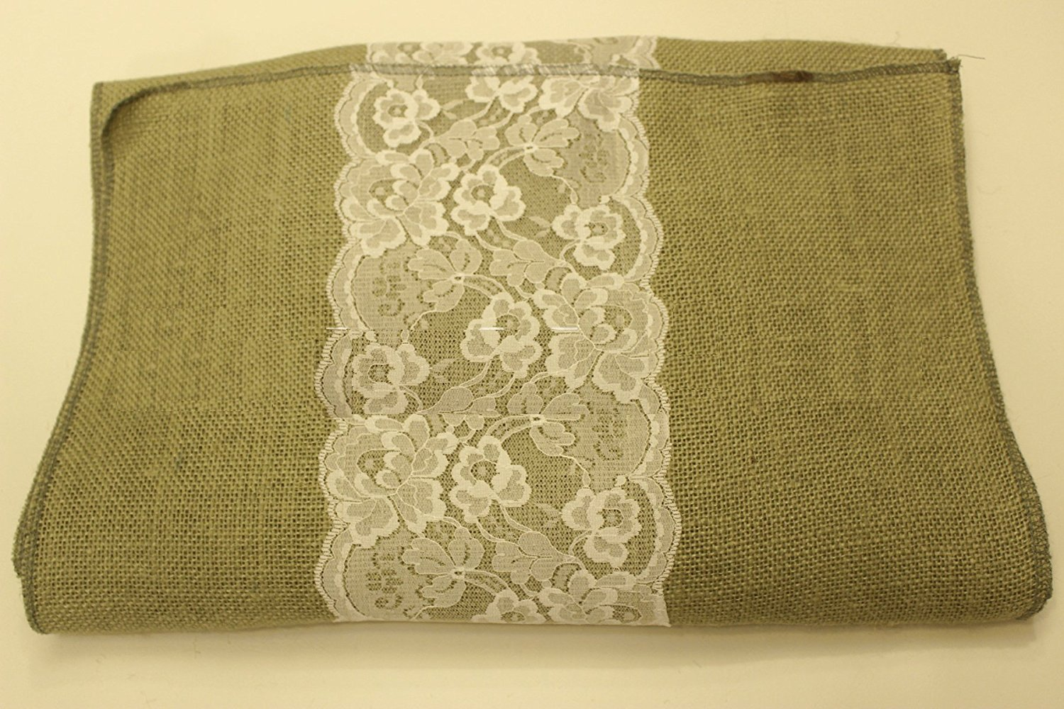 "14"" Sage Burlap Runner with 6"" Ivory Lace"
