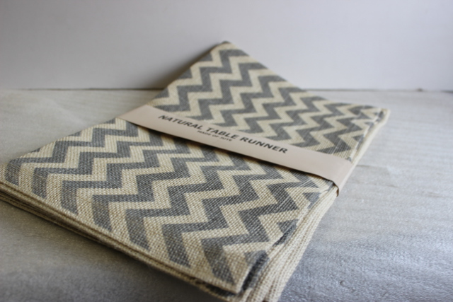 "Chevron Burlap Table Runner - 14"" x 70"" Ivory/Silver"