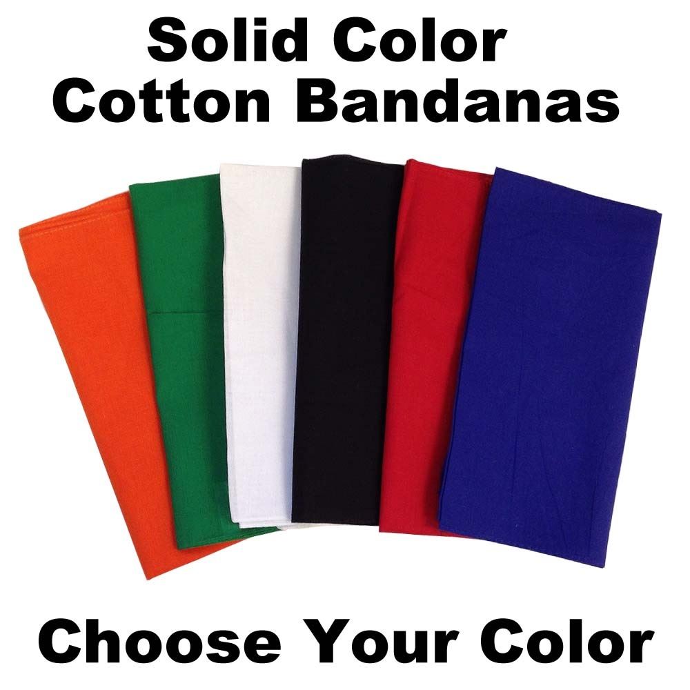 "14"" x 14"" Solid Color Bandanas Assortment (12 Pack)"