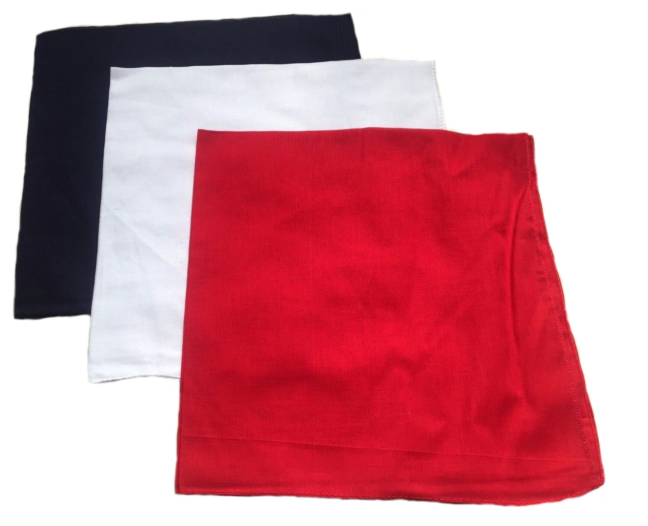 "Solid Bandanas Red, White & Blue 22"" x 22"" 100% Cotton"