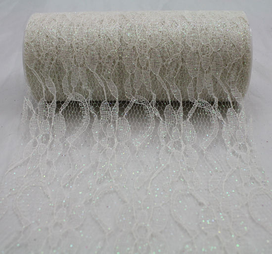 "Ivory Sparkle Lace Ribbon - 6"" x 10 Yards"