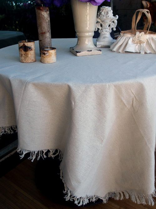 "54"" Square Table Linen with Fringed Edges"