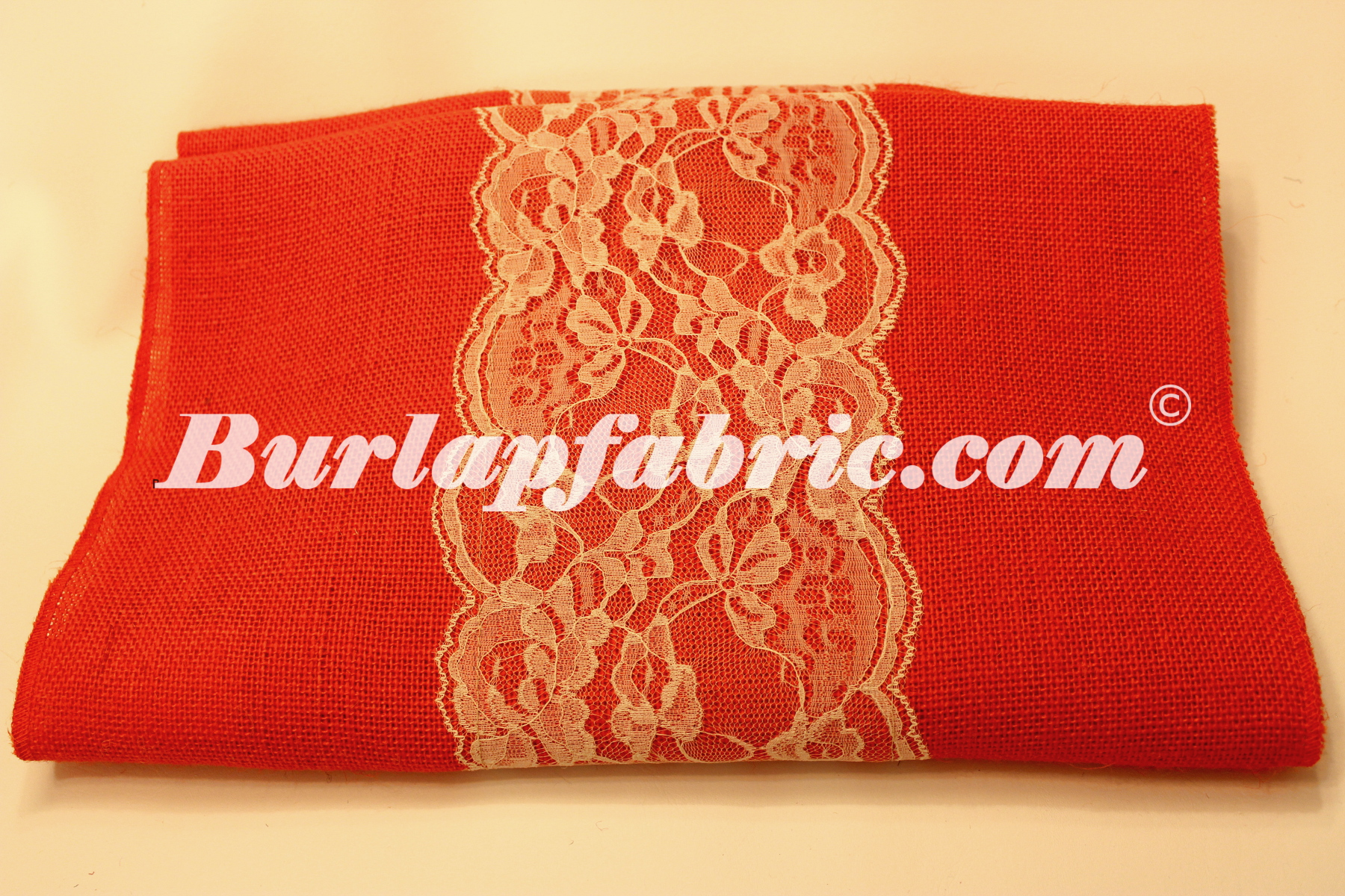 "14"" Tangerine Burlap Runner with 6"" Ivory Lace"