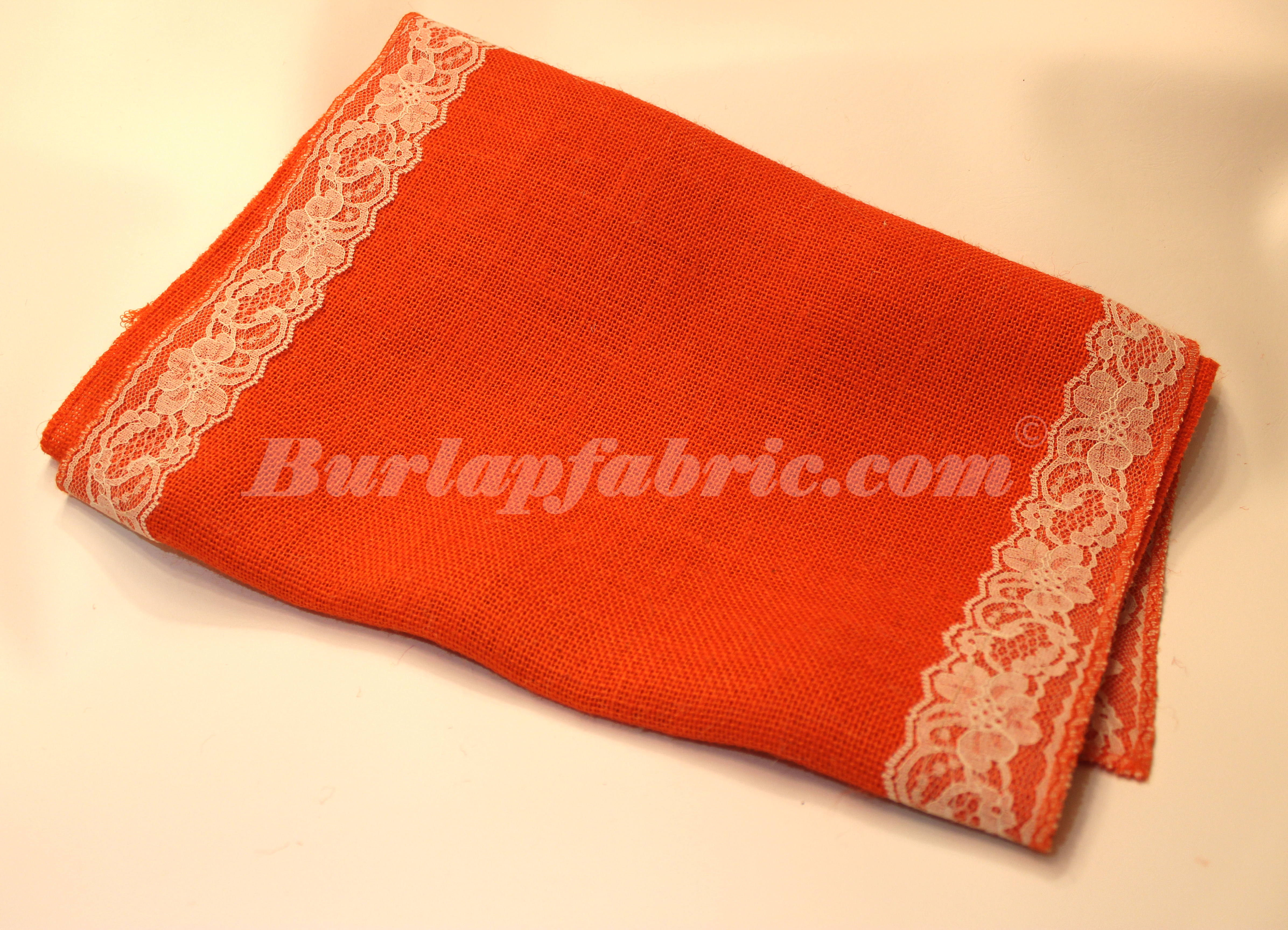 "14"" Tangerine Burlap Runner with 2"" Ivory Lace Borders"