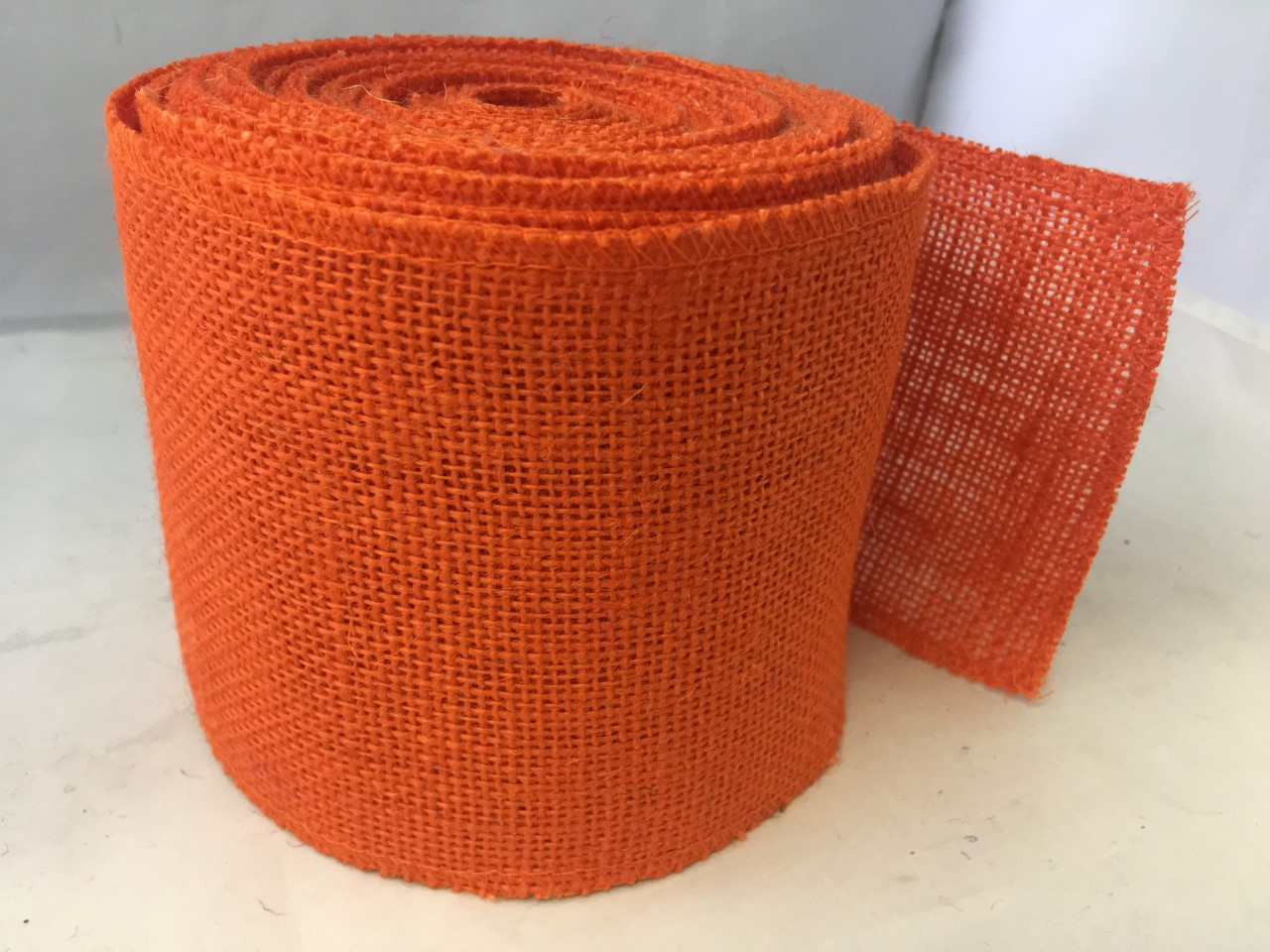 "4"" Tangerine Burlap Ribbon - 10 Yards (Sewn Edges)"