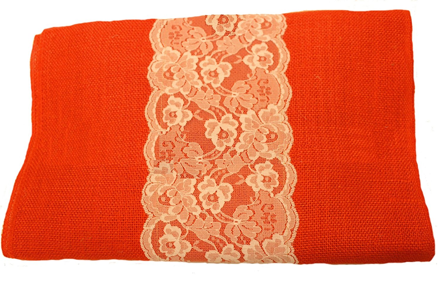 "14"" Tangerine Burlap Runner with 6"" White Lace"