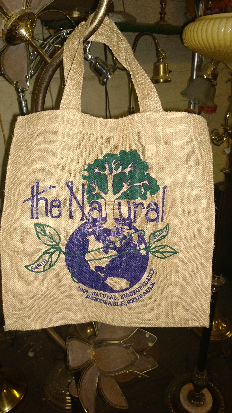 "Jute Tote Bag with Eco Friendly Print 15"" x 15"" x 6"" (10oz)"