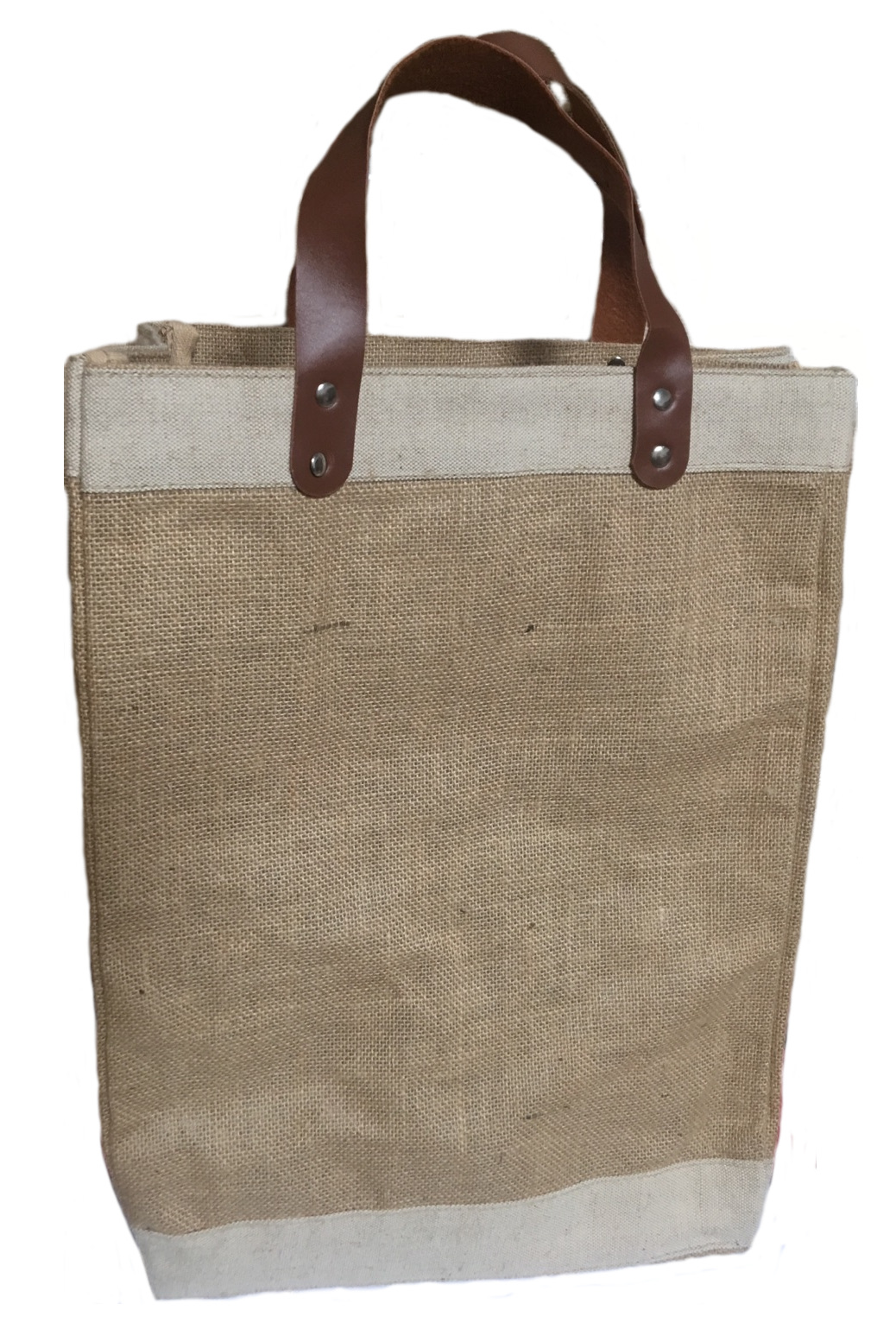 "Jute Tote Bag With Faux Leather Handles 13""W x 18""H x 7.5""G"