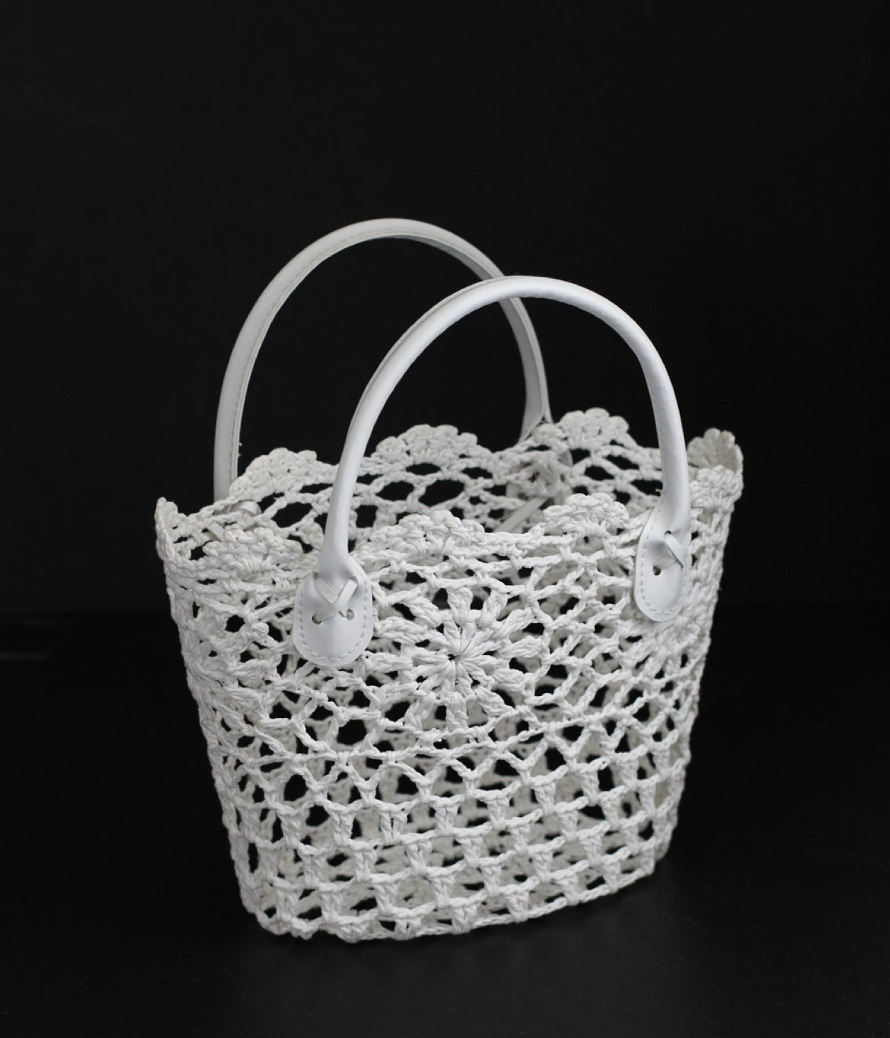 "9"" x 6"" White Embroidery Lace Tote Bag with White Handles"