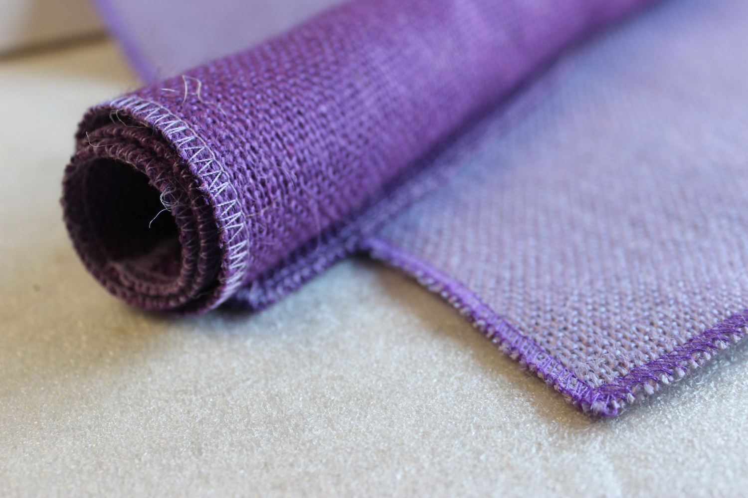 Set of Violet Runner Purple Edge w/ 4 Contrasting Napkins