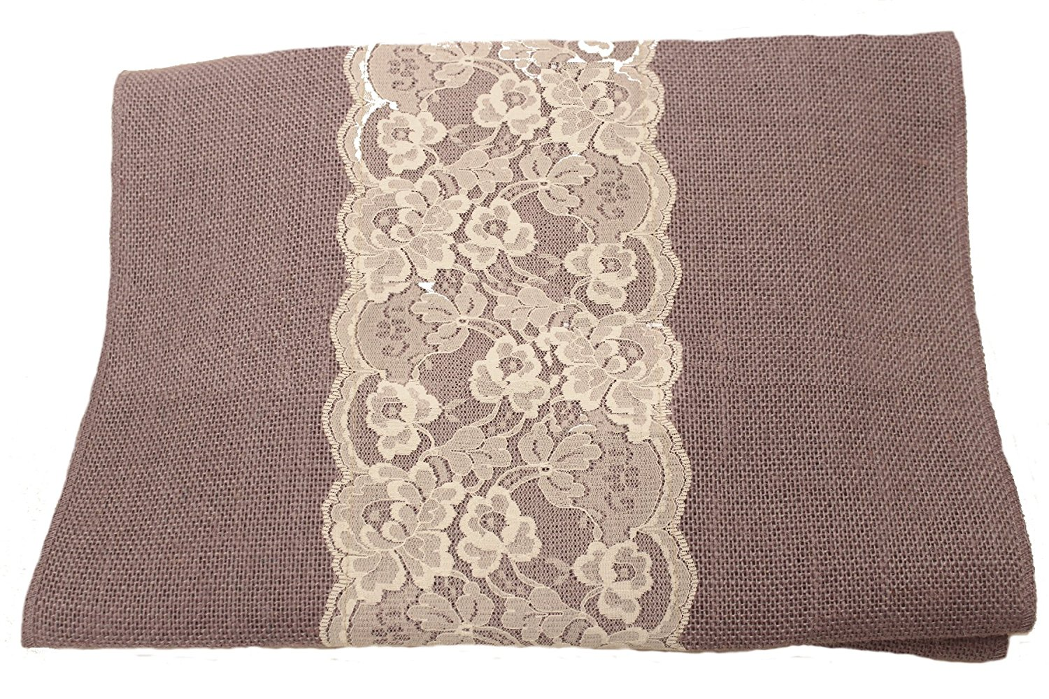 "14"" Violet Burlap Runner with 6"" Ivory Lace"