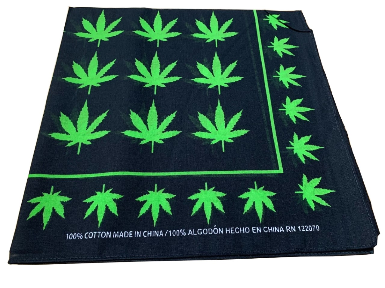 "Marijuana Leaves Weed Bandana 100% cotton 22"" x 22"""