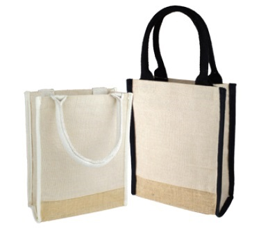 "Burlap Tote Bag with Black or Ivory Handles 9""Wx11""Hx4""D"