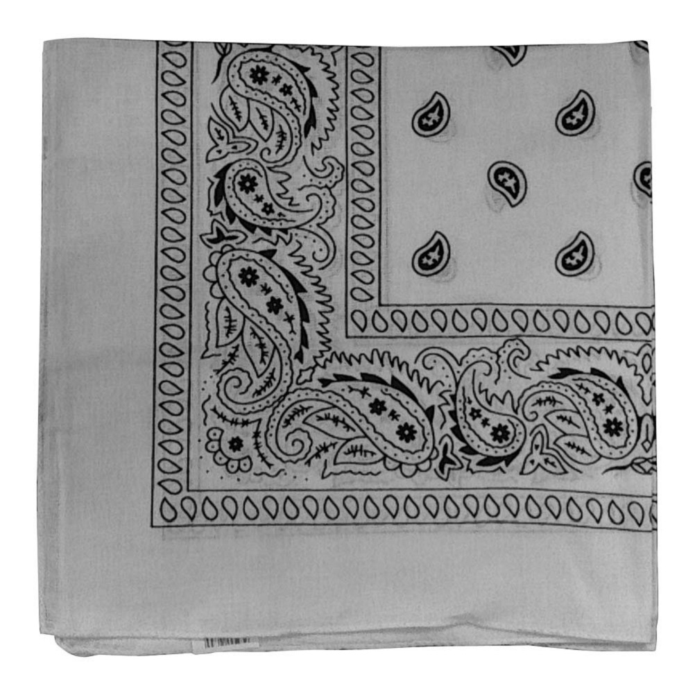 "White Paisley Bandana - 22"" x 22"" (100% cotton)"
