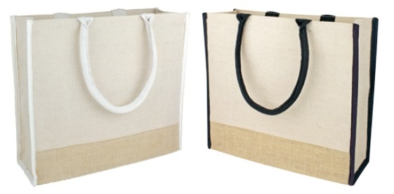 "Jute Tote Bag W/ Black or Ivory Handle 15 1/2""W x13 3/4""H x 6""D"
