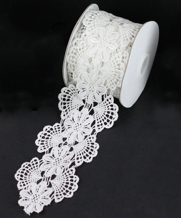 "2-3/4"" White Floral Lace - 5 Yards"
