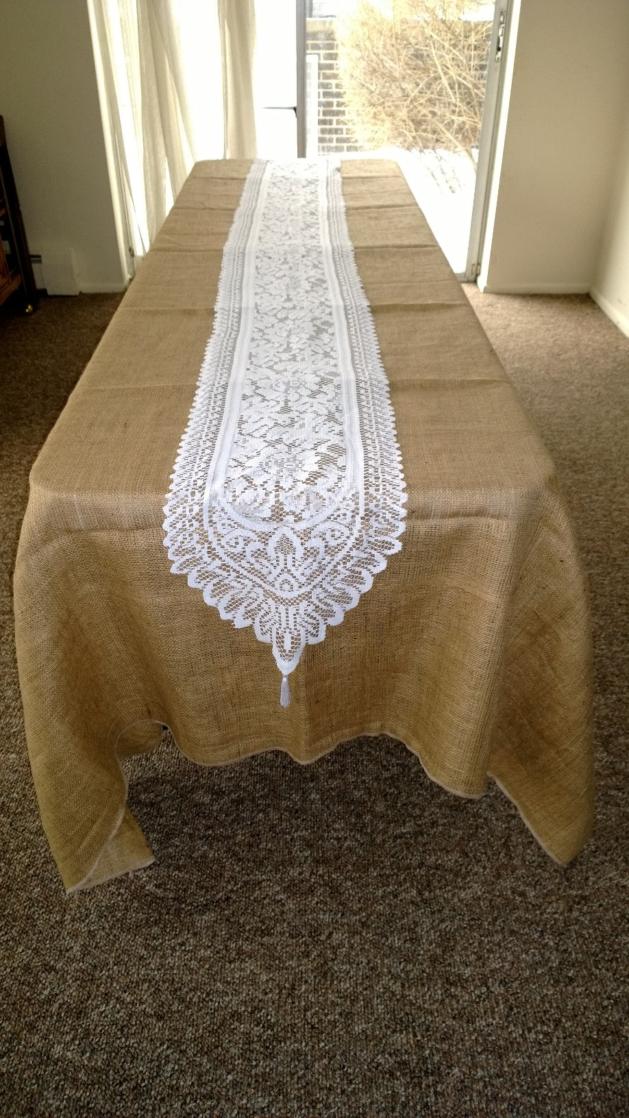 "14"" x 108"" White Table Lace Runner"