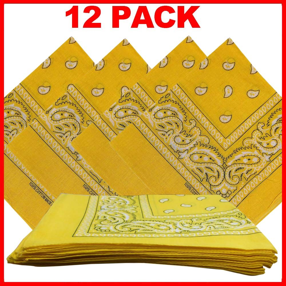 "Yellow Paisley Bandanas (12 Pack) 22"" x 22"" 100% Cotton"
