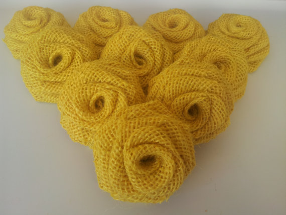 Yellow Burlap Flowers (12 PK)