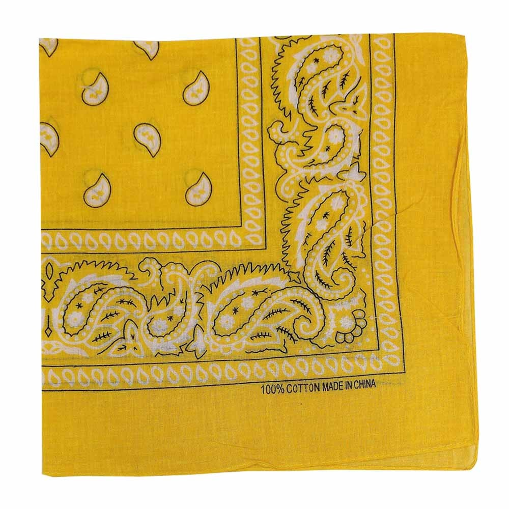 "Yellow Paisley Bandana - 22"" x 22"" (100% cotton)"