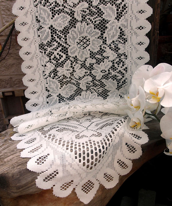 "Ivory Lace Floral Runner - 13"" x 76"""