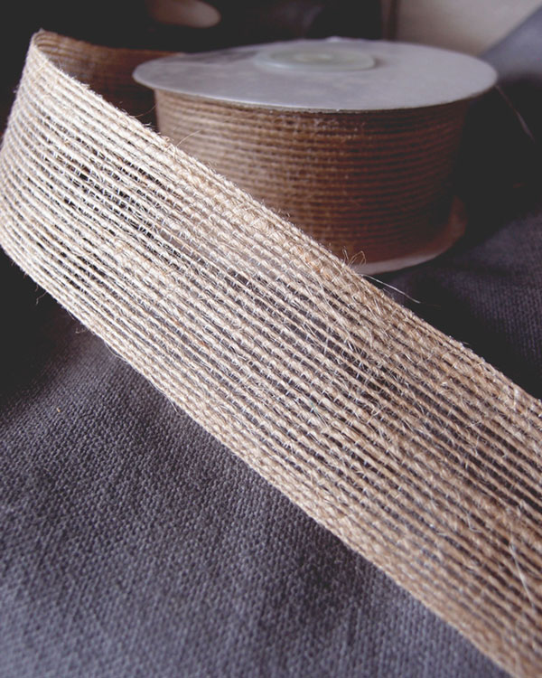 "1.5"" Natural Burlap Ribbon - 10 Yards (serged)"